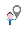 businessman character holding map pointer vector image vector image