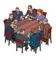 businessmen meeting man and woman smartphones vector image vector image