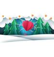 cartoon paper landscape air balloon fir winter vector image vector image