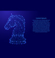chess horse from futuristic polygonal blue lines vector image
