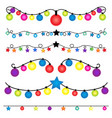 christmas string lights set on white background vector image vector image