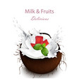coconut milk splash delicious natural vector image vector image