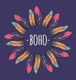 ethnic with feather frame in boho style tribal vector image vector image