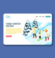 family winter holidays landing page vector image vector image