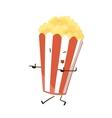 Funny fast food popcorn icon vector image vector image