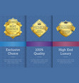 gold labels with crown that guarantee best quality vector image vector image
