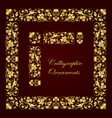 gold ornate calligraphic corner border and frame vector image
