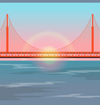 golden gate bridge against setting sun vector image