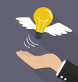 Hand with lightbulb fly vector image vector image