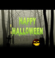 happy halloween text on spider web in dark gloomy vector image vector image