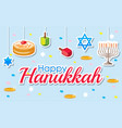 happy hanukkah poster design with desserts and vector image vector image