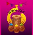 happy holi greeting card dholak gulal powder color vector image vector image