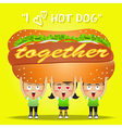 happy people carrying big hot dog vector image vector image