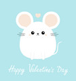 happy valentines day white mouse icon funny head vector image vector image