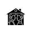 house for two black icon sign on isolated vector image