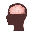 human face brown silhouette with brain inside in vector image vector image