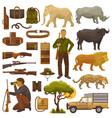 hunt safari hunterman character in africa vector image vector image