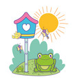 mailbox with bird and dragonflies with frog in the vector image
