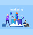 marketing startup with rocket vector image vector image