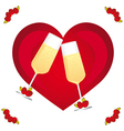 marriage card glasses with champagne on heart vector image