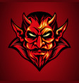 mascot logo red devil head in hand drawn vector image vector image