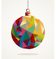 Merry Christmas circle bauble with triangle vector image vector image