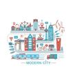 modern smart city graphic flat line design vector image