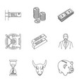 money and finance set icons in outline style big vector image vector image