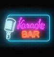 neon signboard of karaoke music bar glowing vector image vector image