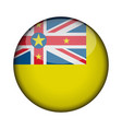 niue flag in glossy round button of icon niue vector image