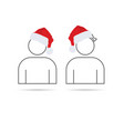 people icon with christmas hat vector image vector image