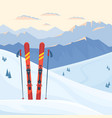 red ski equipment at ski resort vector image vector image