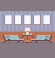 retro interior with sofas frames for copyspace vector image vector image