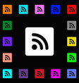 RSS feed icon sign Lots of colorful symbols for vector image