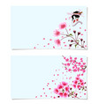 sakura two postcards a branch of a blossoming vector image vector image
