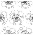 seamless pattern with poppy and circles on white vector image vector image