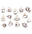 set doodle sketch coffee icons vector image vector image