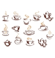 Set of doodle sketch coffee icons vector image