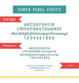 set of pixel fonts - alphabet and numbers vector image vector image