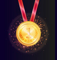 shiny honorable gold medal for first place win vector image