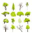 Sketch tree icons set vector image