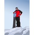 Snowboarder stands on top of a hill vector image