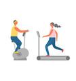 sport equipment cardio training people vector image