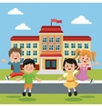 students group happy back school building vector image vector image