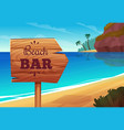 summer background with wooden signboard on the vector image vector image