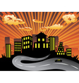 Sunset City and Road Silhouette vector image