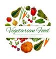 Vegetarian food poster vegetables harvest vector image vector image