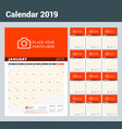 wall calendar planner for 2019 year design print vector image vector image