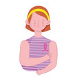 woman with ribbon in shirt vector image vector image
