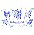 Set of leaves painted in watercolor on white paper vector image